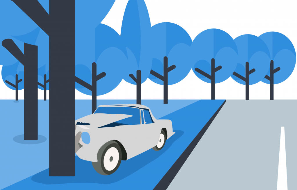 What insurance applies when car crashes into tree? Collision coverage.