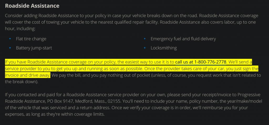 progressive roadside assistance